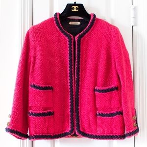 Chanel Haute Couture Vintage 1960 Pink Navy Jacket